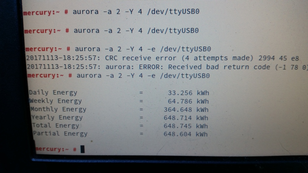 aurora -a 2 -Y 4 -e /dev/ttyUSB0